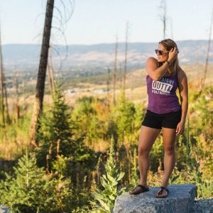 Ladies heather aubergine Straight Outta the Okanagan relaxed tank - 351 Apparel