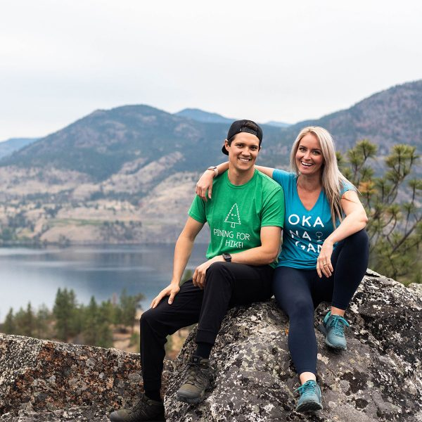 Mens green Pining for a Hike t-shirt & Heather Galapagos Ladies t-shirt - 351 Apparel
