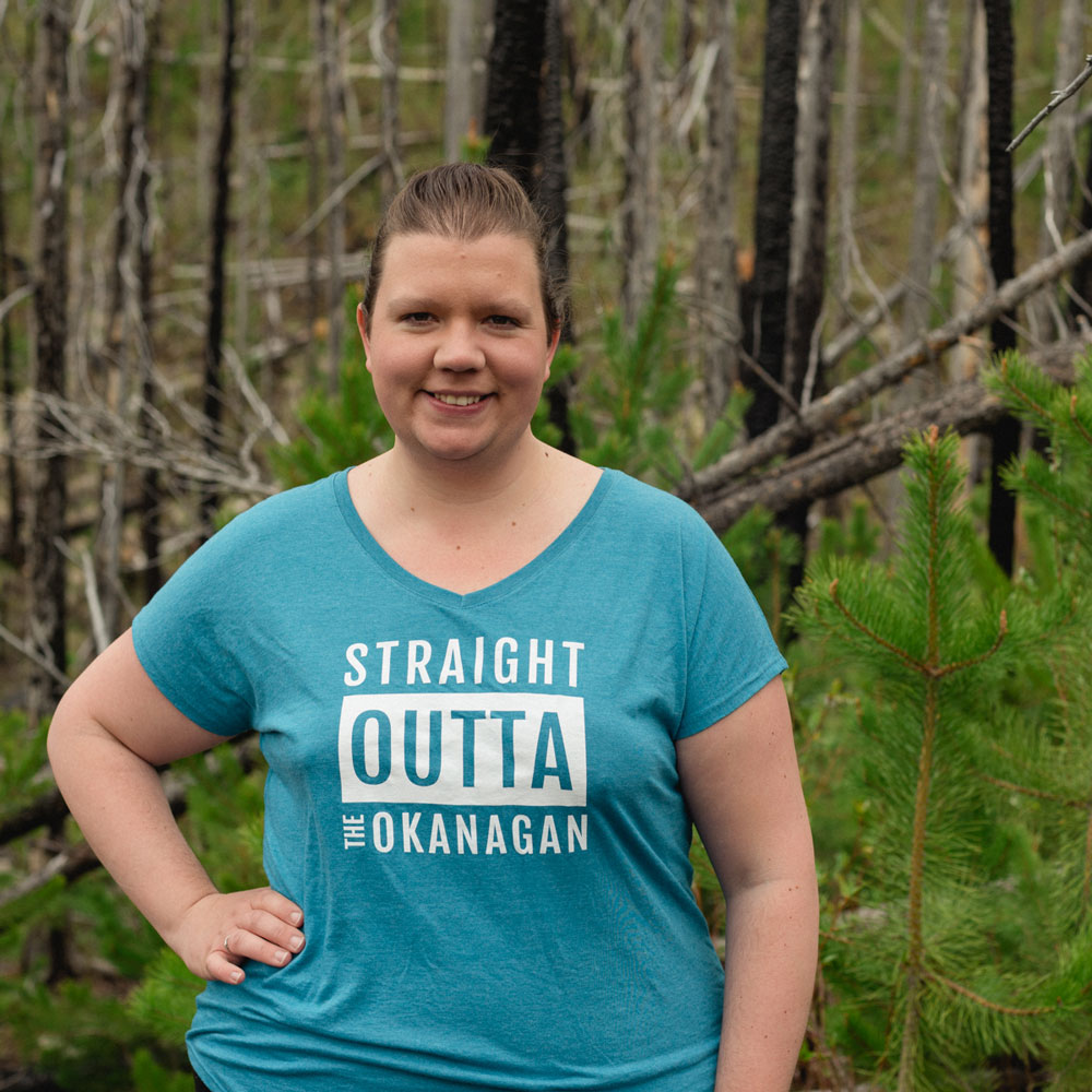Ladies heather galapagos Straight Outta the Okanagan relaxed tshirt - 351 Apparel